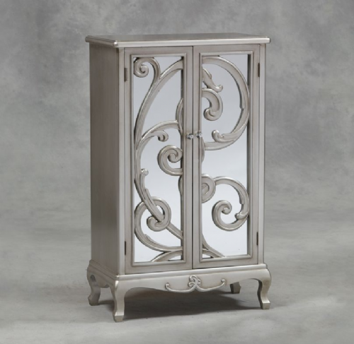 Rococo Mirrored Cabinet in Antique Silver